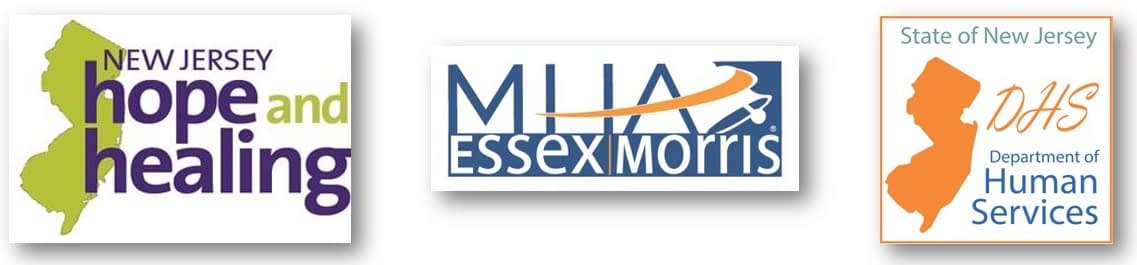 NJ Hope and Healing Logo, MHA Essex Morris logo, NJ Department of Human Services logo